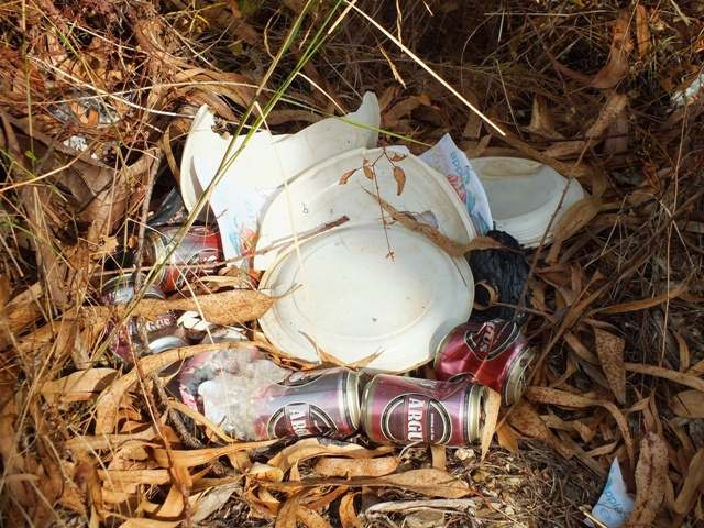 Picnic litter in the Algarve countryside